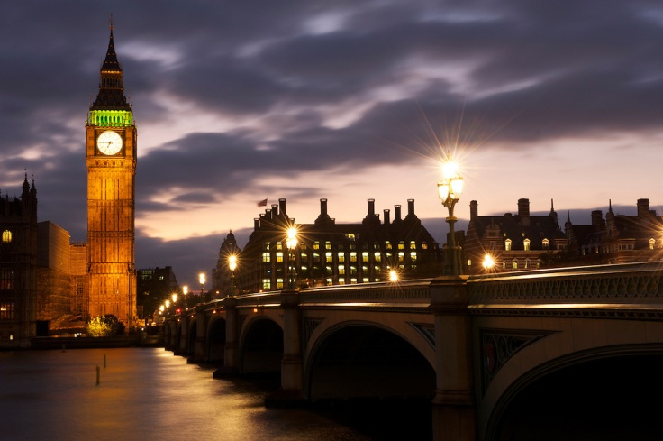 London with Big Ben and Westminster Bridge at night
